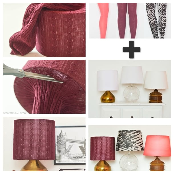 Upcycled leggings lamp shade