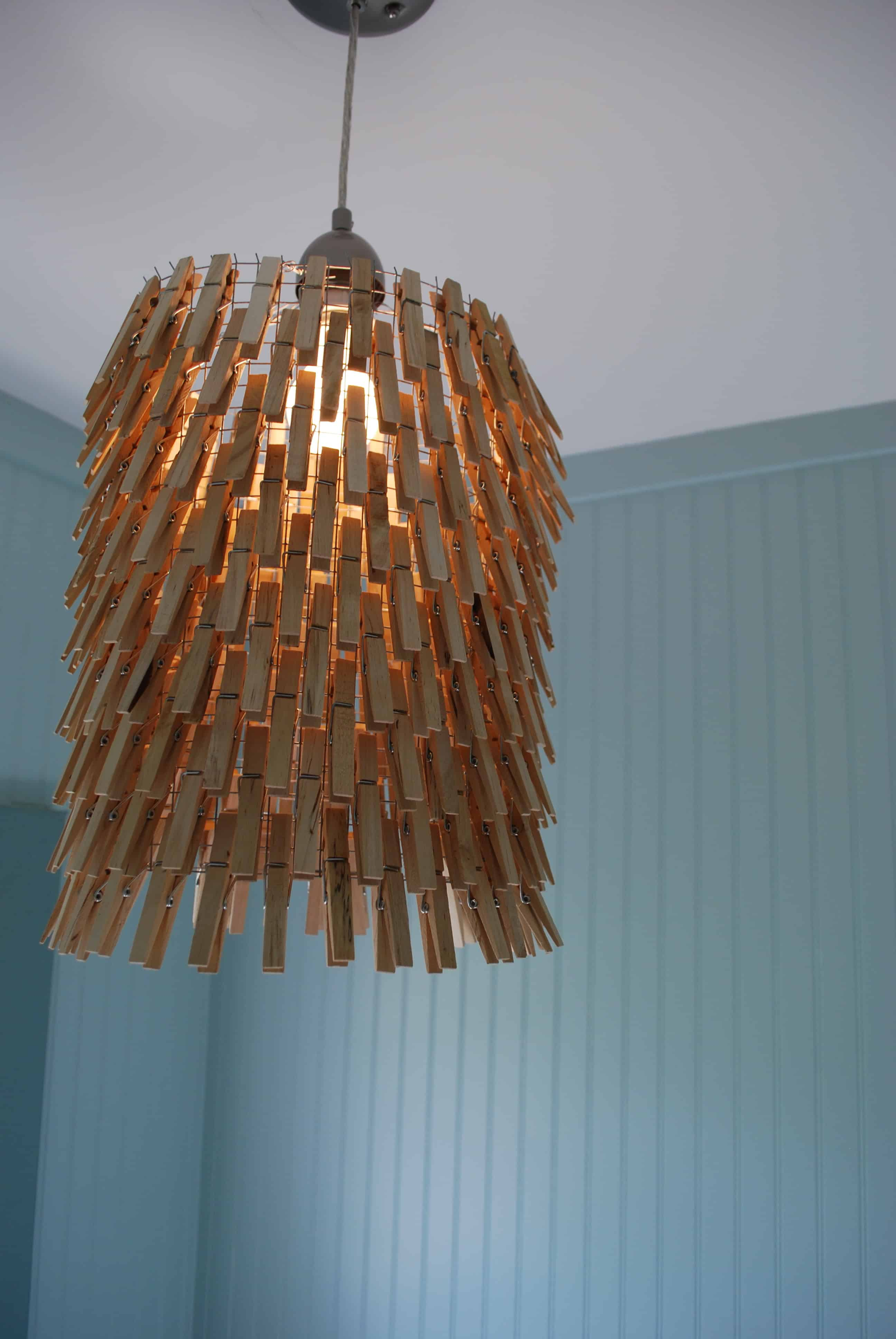 Wooden clothespin laundry room lamp shade