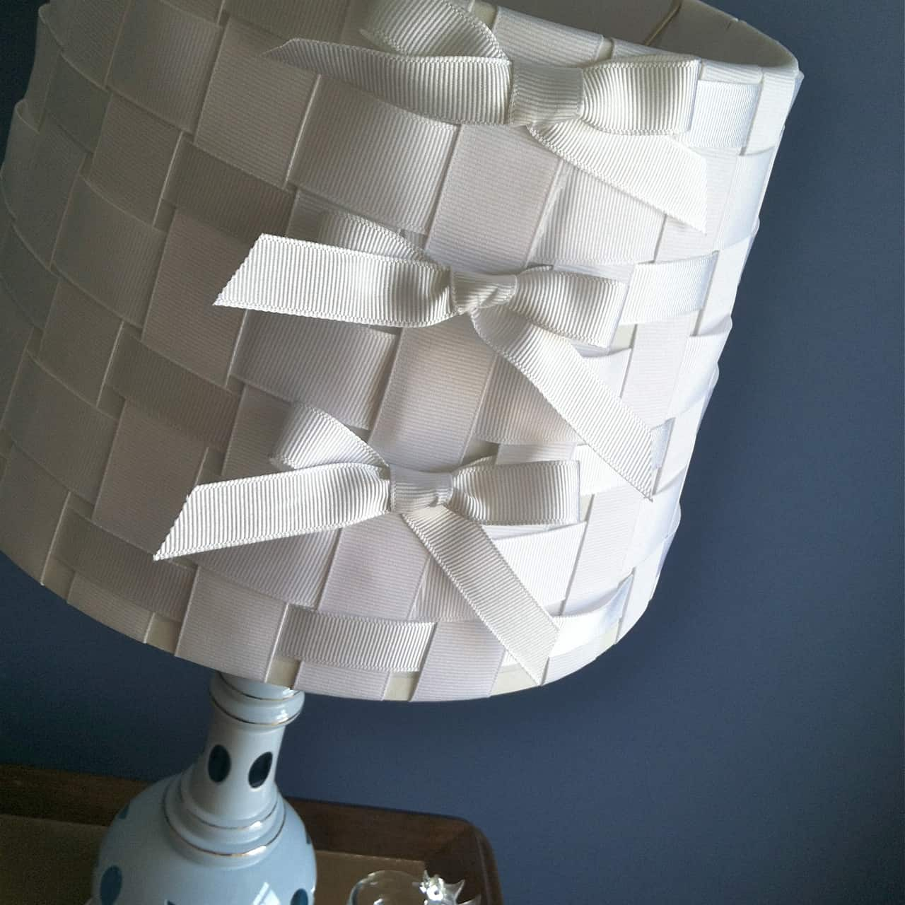 Woven ribbon and bows lamp shade