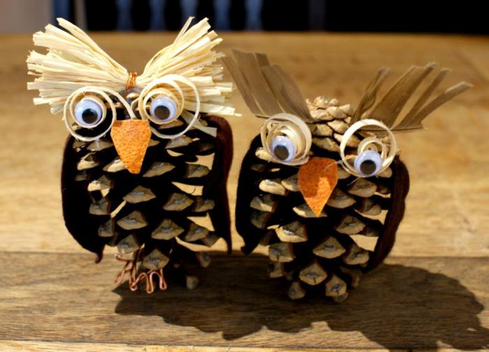 Crafts from cones owl